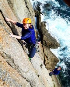 Stunt woman, Corrine, learning to lead (severe 4b).