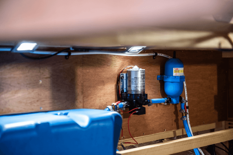shurflo water pump and fiamma accumulator how to install a campervan water system