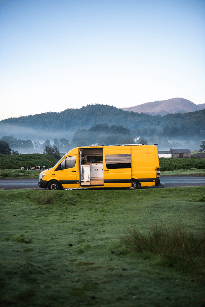 yellow mercedes sprinter campervan in the lake district