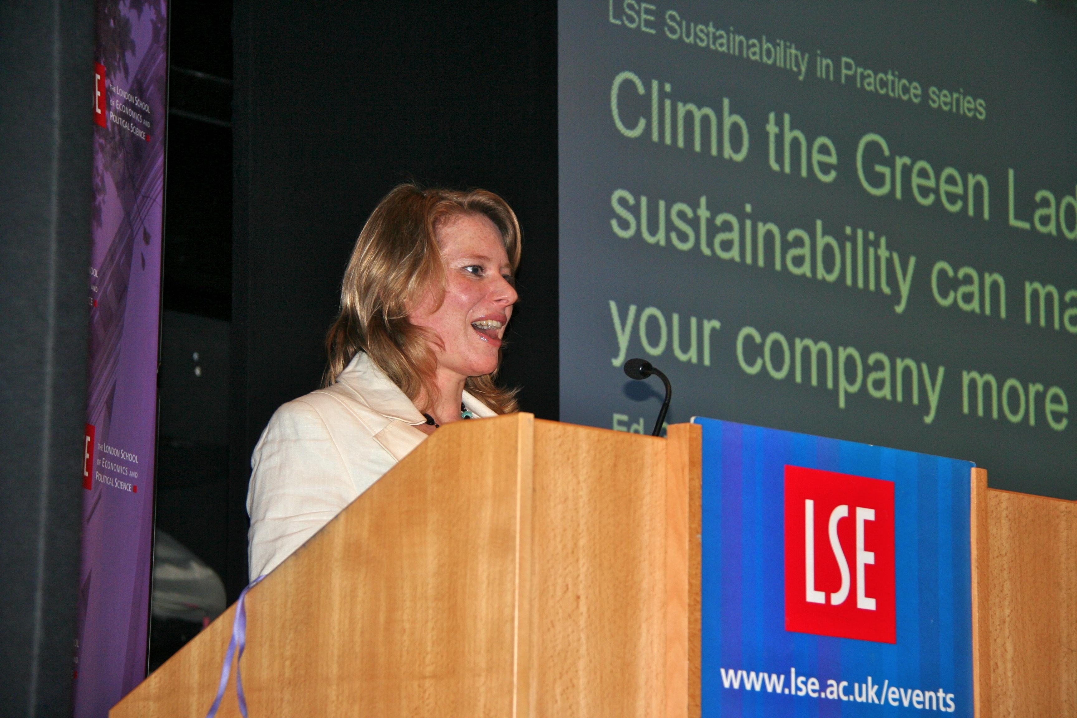 Amy Fetzer at podium LSE Lecture