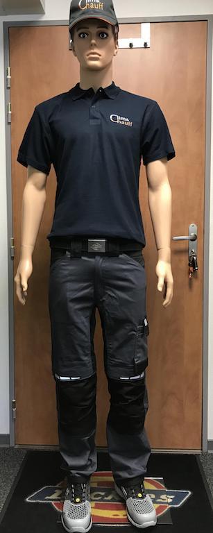 Uniforme clim&chauff complet, pantalon, basket, casquette et Polo