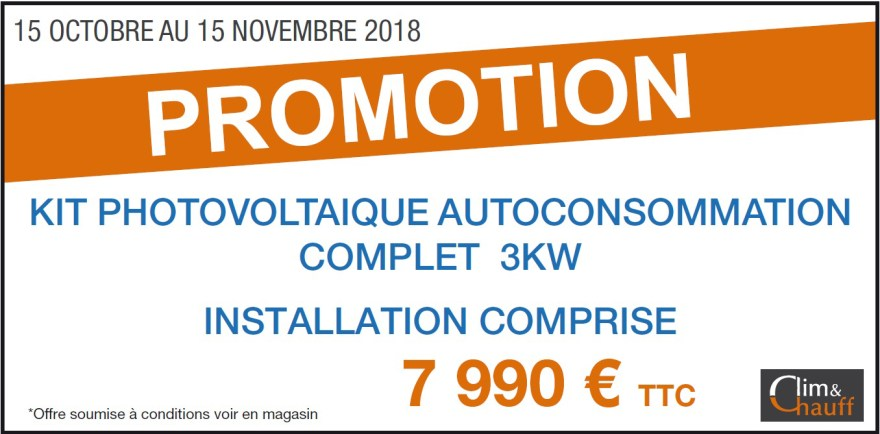 Promotion sur le photovoltaïque du 15 Octobre au 15 Novembre - Conditions en magasin