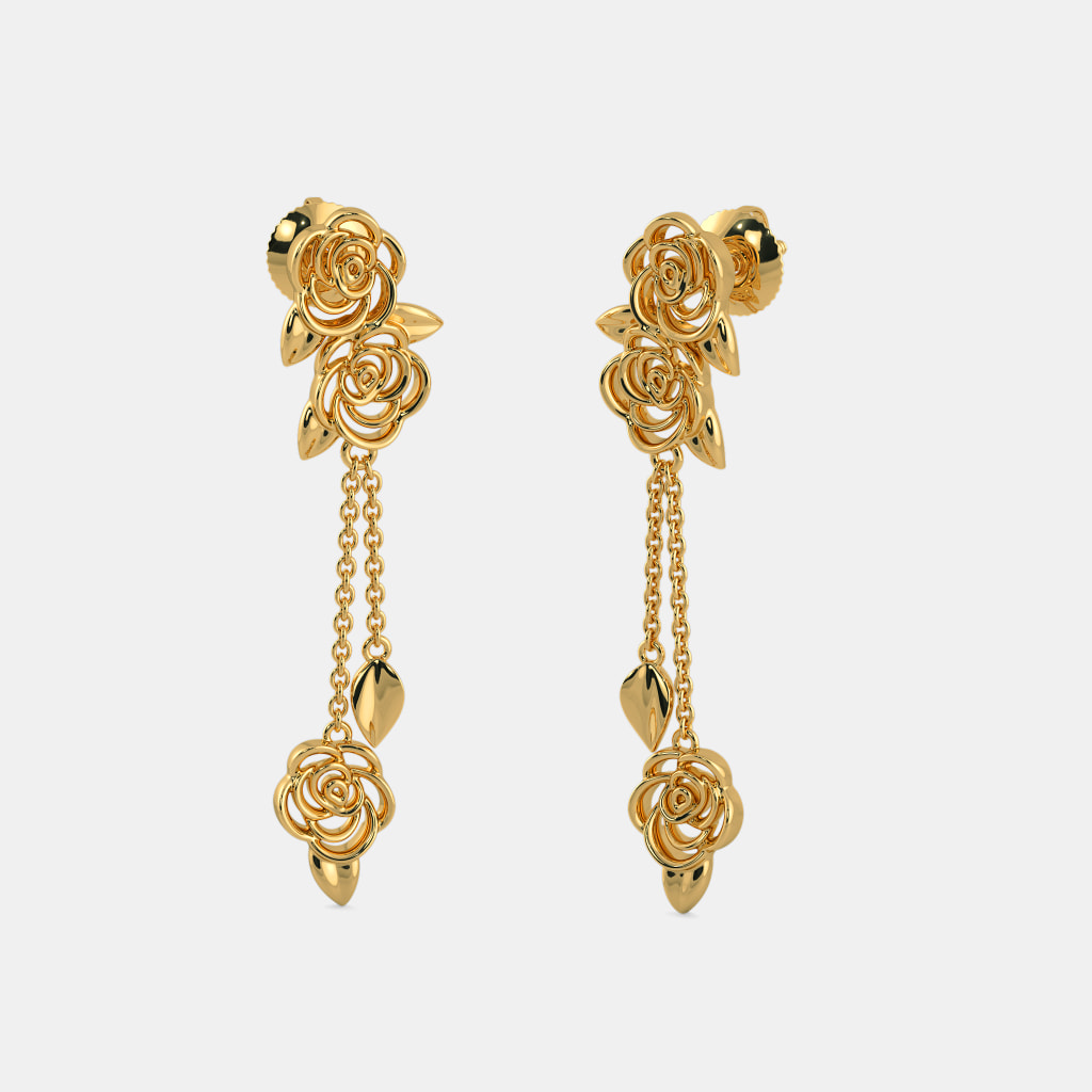Earrings In Gold Gold Earrings Design From Grt South India