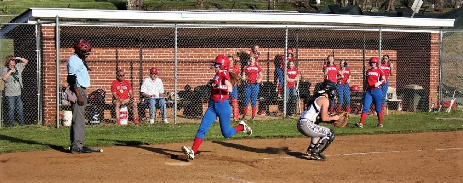 Twin Springs Emaleigh Powers scores game tying run in top of the 7th