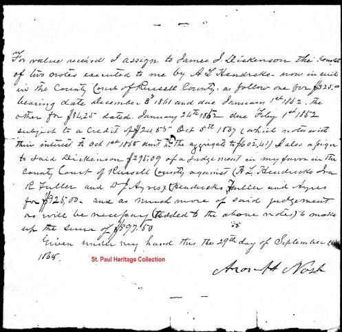 Promissory Note Aaron Nash to J. J. Dickenson