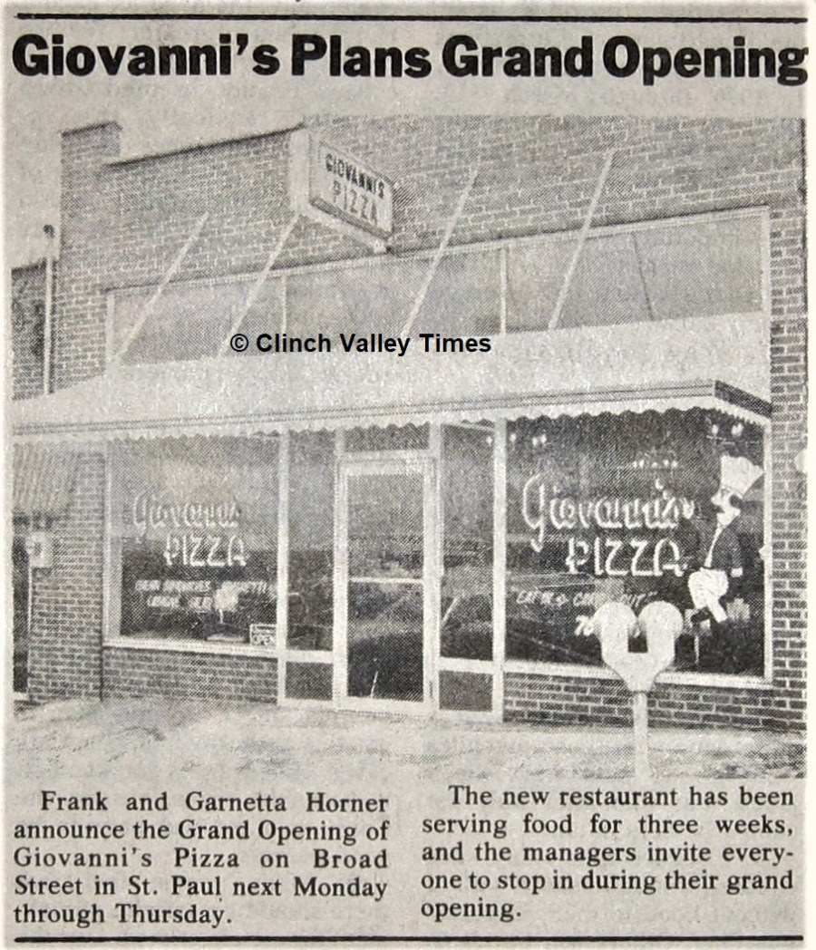 Giovannis Grand Opening 1977