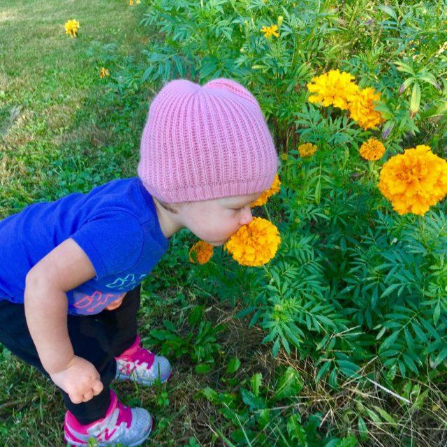 toddlersmellingflower