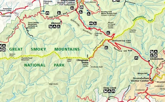 Clingmans Dome Map on hiking lake tahoe map, hiking appalachian trail map, hiking cades cove map,