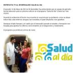 Noticia de Salud al Día. Entrevista al Dr. Bernáldez