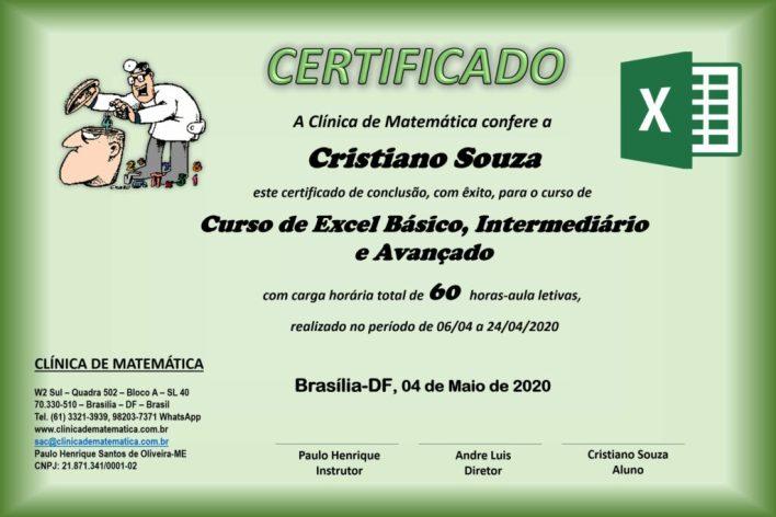 certificado curso de excel