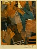 """Forms in Space. 1920. Collage. 7""""x 5""""."""