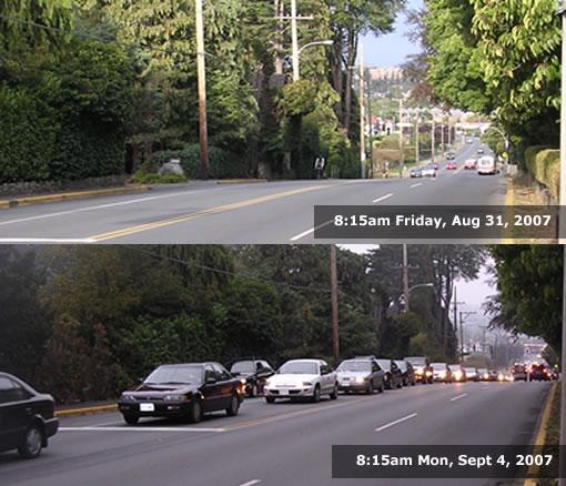 Traffic on Hillside Ave