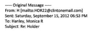 "A sample email of the ""H"" as it appears in an email sent by Clinton. (Credit: public domain)"
