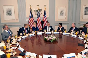 Clinton attends a meeting with New York Stock Exchange president Duncan Niederauer and various business leaders on September 21, 2009. (Credit: public domain)