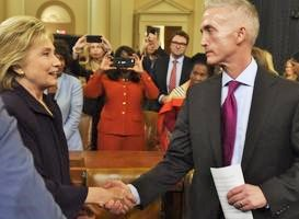 Gowdy shakes hands with Clinton after she testifies before the House Select Committee on Benghazi on October 22, 2015. (Credit: CNN)