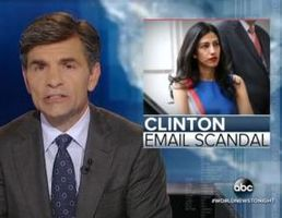Photo of an ABC News report on Huma Abedin's deposition on June 29, 2016. (Credit: ABC News).