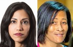 Huma Abedin (left) (Credit: Melissa Golden / Redux) Cheryl Mills (right) (Credit: Stephen Crowley / New York Times)