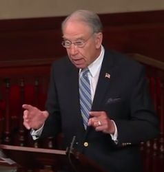 Senator Charles Grassley speaks on the Senate floor on September 12, 2016. (Credit: YouTube)