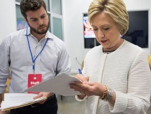 Clinton works with Dan Schwerin, director of speechwriting, on a few last-minute changes to her speech before declaring victory in the Democratic presidential primary on June 7, 2016 in Brooklyn, NY. (Credit: Barbara Kinney / Politico)