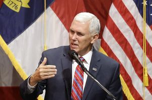 Mike Pence rallies in Raleigh, North Carolina on October 12, 2016. (Credit: Gerry Broom / The Associated Press)