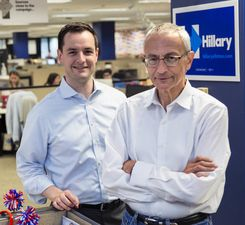 Robby Mook (left) and John Podesta at Clinton campaign Brooklyn, NY office. (Credit: Brooks Kraft / Politico.)