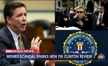 Photo captured from NBC News report about FBI Director James Comey re-opening the Clinton email investigation. (Credit: NBC Nightly News)