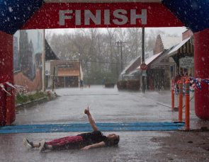 Hunger Run finish line in the rain