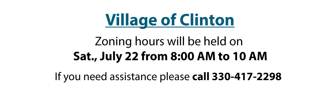 Clinton Village Notice Zoning Hours July 2017