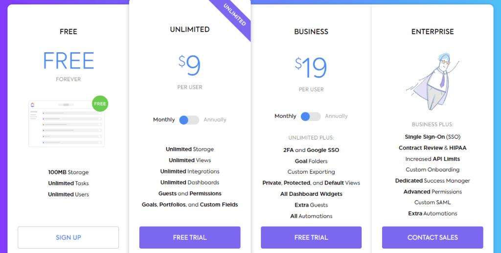 clickup subscription plans