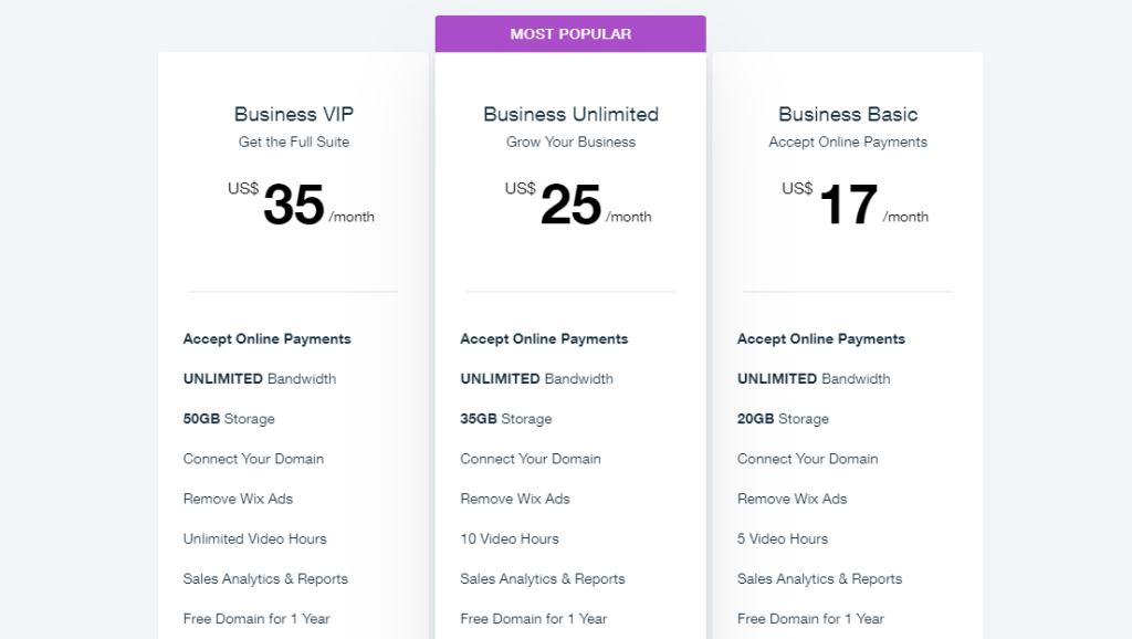 wix pricing model