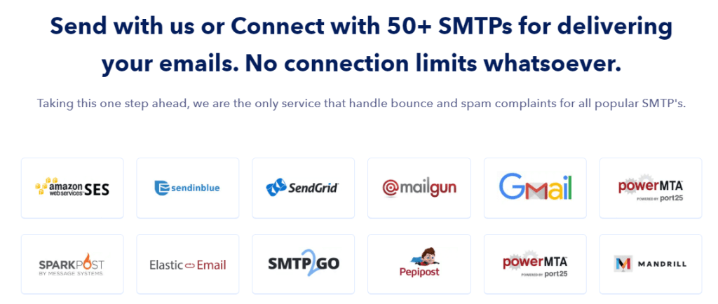 Connect with nearly all other SMTPs providers