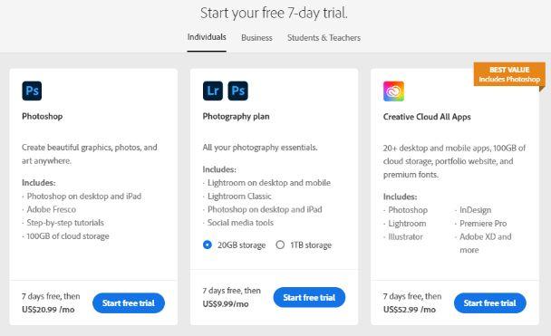 Adobe photoshop pricing plans