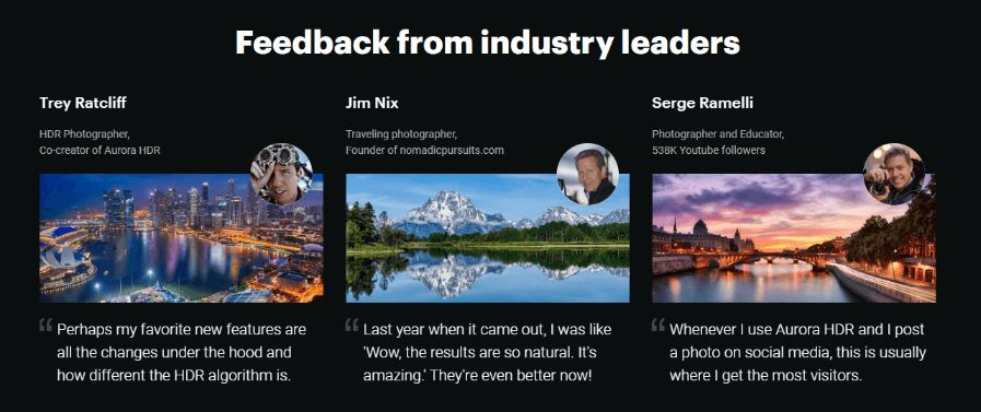 feedback from industry leaders about Luminar 4
