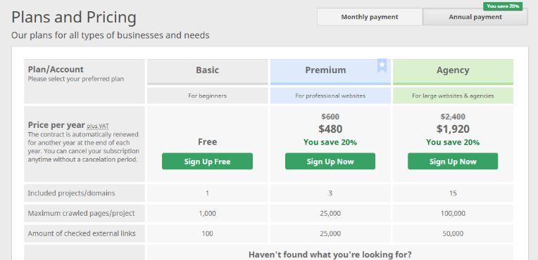 SEObility pricing model