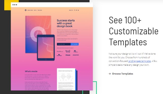 Pre-designed 100+ customizable landing page to choose from