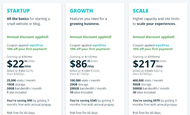 Beginning hosting plans start with $22.50 per month