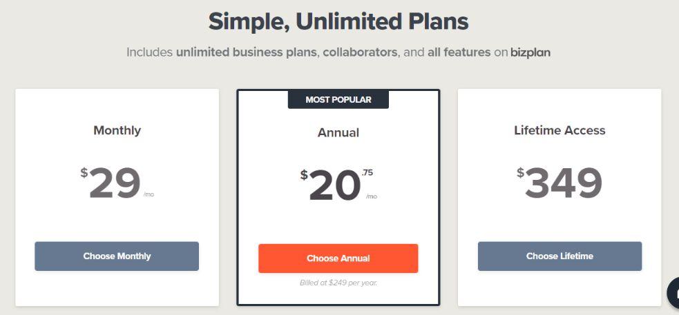 BizPlan subscription model
