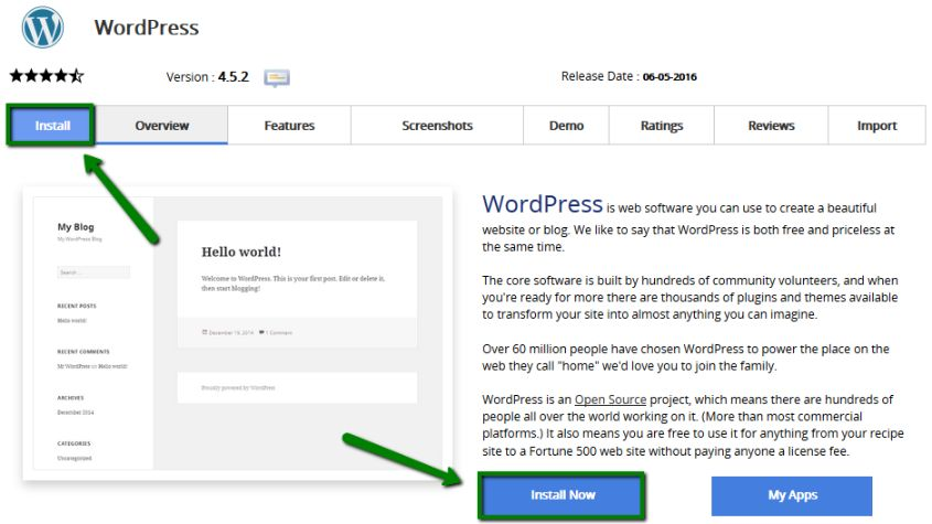 Use 1-click WordPress installer to quickly install it without any complexity