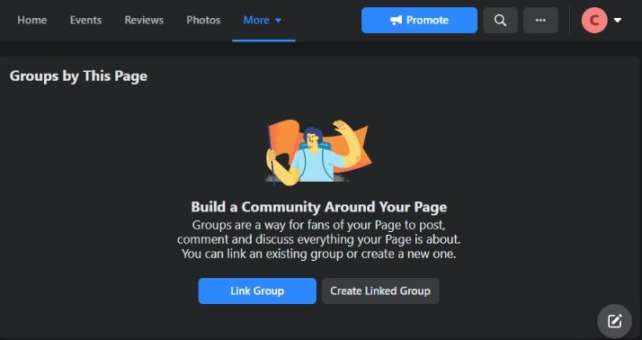 you can either create a new group from your business page or link an existing group.