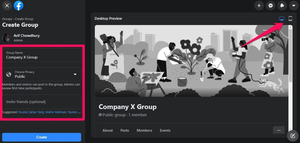 set up your group with a name & a description. Choose privacy option & invite members to your group.