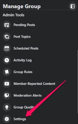 use settings option to customize your group.