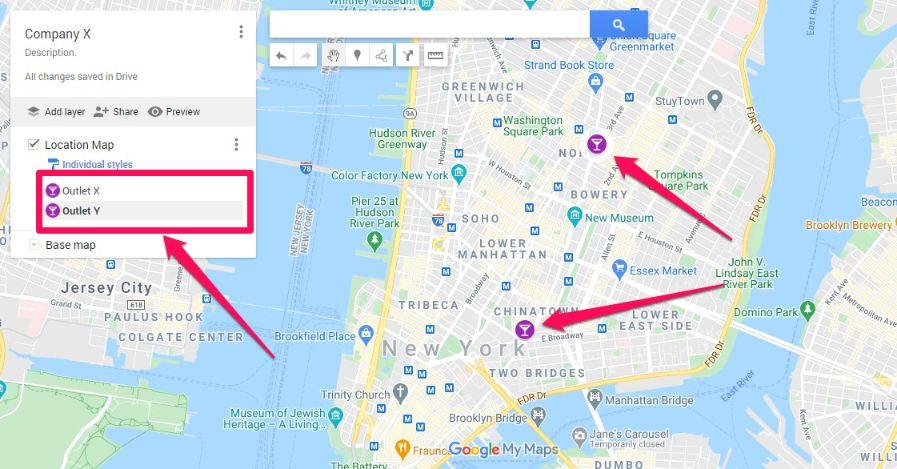 You can mark as many locations as you want. These marked location can be seen no matter how many times you zoom out.