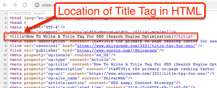 In website HTML code title tag can be found under the meta tag.