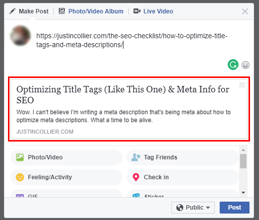 Social media platform like Facebook will automatically extract title and meta description from the original page.