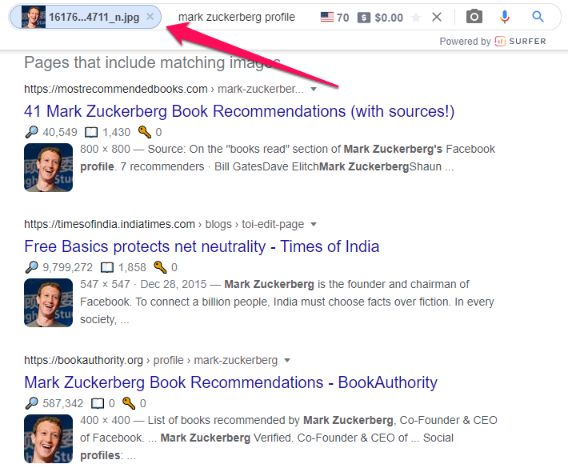 Use Google image to search for a fake account.