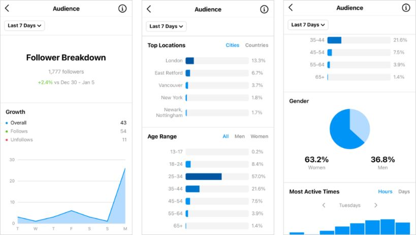Check Instagram follower breakdown to get the details of your audience.