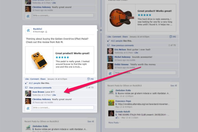 Social media such as Facebook is a great source for collecting customer reviews.
