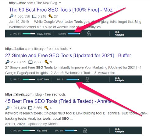 MozBar feature also works on search results.