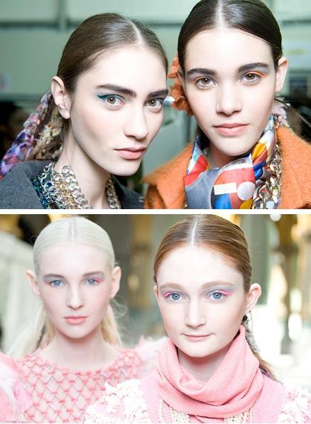 Molto interessante il trucco di Chanel, dove troviamo una sorta di spessa riga di eyeliner colorato solo nella parte finale dell'occhio; le tonalità variavano in base agli abiti