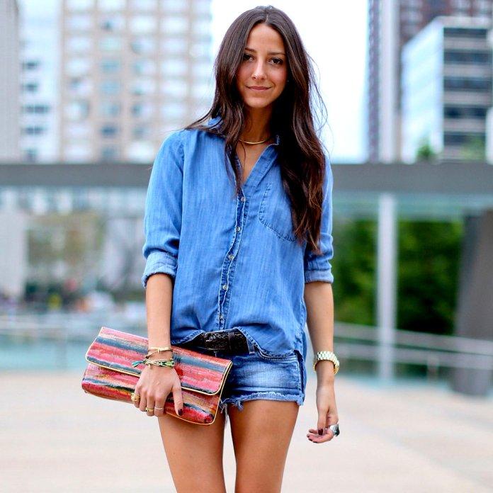 ClioMakeUp-come-indossare-camicia-jeans-8-short-denim